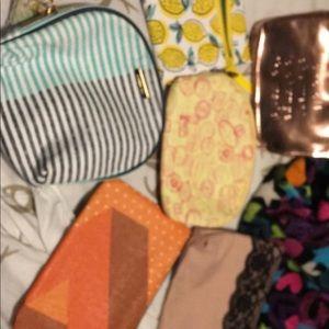 An assortment of Ipsy bags plus 1 other makeup bag